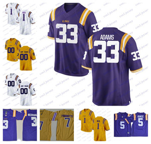 NCAA LSU Tigers 1 Eric Reid 33 Jamal Adams 11 Spencer Ware 80 Jarvis Landry College Football Jersey purple yellow white Stitched S-3XL