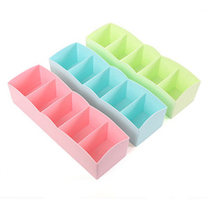 Wholesale Five Grid Storage Box Household Underwear Socks Bra Ties Organizer Anti Wear Desktop Drawer Plastic Boxes Fashion gy CB