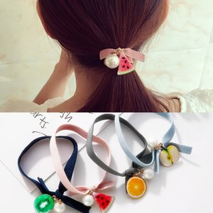 Wholesale Simple Fruit Hair Rubber Bands Apple Watermelon Orange Kiwi Hair Ring 2018 Summer Women Cute Bowknot Imitation Pearl Hair Rope Accessories