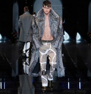 Silver winter thicken warm faux fur coats mens leather mink overcoat men long design trench coats jaqueta de couro plus size