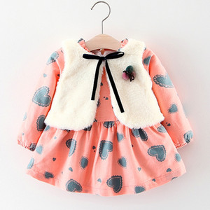 Wholesale Brand New Autumn Winter Wear Girls Baby Clothes Floral Long sleeved Plus Velvet Dress Fur Vest Girls Suit Clothing Sets