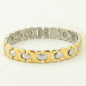 Wholesale Bio Energy Bracelet Gold Silver Plated Magnets Gemaniums PIRs Inserted Healthy For Body Pain Release Stainless Steel Bracelet
