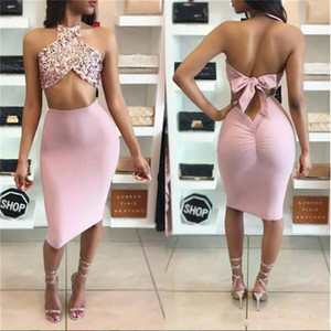 Wholesale 2019 Newest Sexy Sequin Vestidos Cocktail Dresses new design sequined clubwear off shoulder halter Two Pieces Gowns