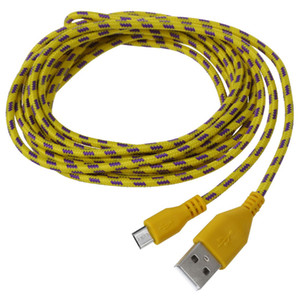 HFES 3M Braided Fabric Micro USB Data&Sync Charger Cable Cord For Cell Phone Yellow