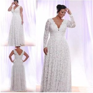 Cheap Full Lace Plus Size Wedding Dresses With Removable Long Sleeves Deep v Neck Bridal Gowns Floor Length Wedding Dress Customized Size on Sale