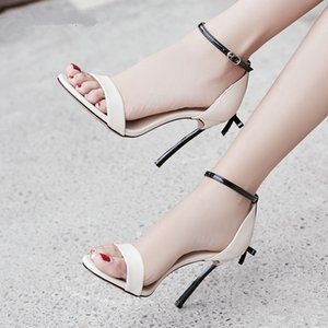 Fashion metal thin high heel butterfly-knot stud women sandals buckle strap open toe Stiletto shoes red black nude pink