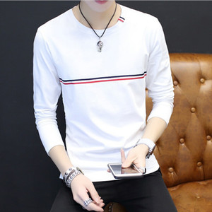 Wholesale stripped shirts resale online - Man s Strip White Cotton Long Sleeve Tee Spring Autumn Crew Neck Slim T shirt