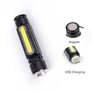 CrazyFire LED Flashlight T6+COB Spotlight Flashlight 4 Modes USB Rechargeable Handy LED Flash Light Torch Pocket Light with Magnet