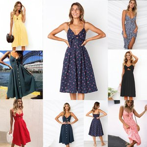 Wholesale Dress Womens Holiday Sleeveless Ladies Maxi Long Summer Print Beach Dress Size Button open back bow