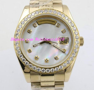Free shipping Luxury Watch 18k Yellow Gold Day Date Diamond Case Gold Stainless Steel Bracelet Original Band Automatic Men Watch
