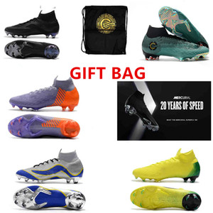Wholesale GIFT BAG th anniversary Soccer Cleats Mercurial Superfly VI CR7 SuperflyX Elite SG AC Soccer Shoes High Ankle Football Boots