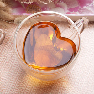 Wholesale coffee mugs resale online - 180ml ml Double Wall Glass Coffee Mugs Transparent Heart Shaped Milk Tea Cups With Handle Romantic Gifts