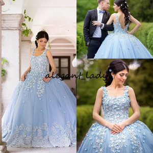 Wholesale Sky Blue Puffy Prom Dresses Square Neck Lace Appliques Floor Length 3D Floral Flower Quinceanera Dresses Dubai Arabic Special Occasion
