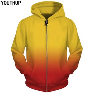 wholesale Autumn Funny 3d Hoodies Men Gradient Solid Color Hoodies Zipper Hooded Sweatshirts Men Unisex Casual Cool Coat Tracksuit on Sale