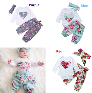 Wholesale Newborn Baby Girls Floral Romper Pants Headband Outfits Set Clothes Colors Flower Heart Kid Girl Boutique Clothing Toddler M