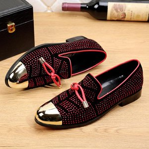 Wholesale 2018 New Style Casual Formal Shoes For Men Black Genuine Leather Tassel Men Wedding Shoes Gold Metallic Mens Studded Loafers G199