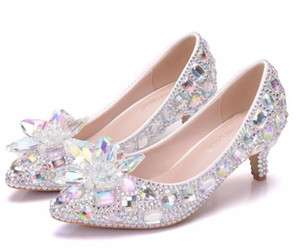 Wholesale Hot Selling cm Heels Sparkly Crystal Shoes Bridal Rhinestone Wedding Shoes With Colorful Flower for Prom Party