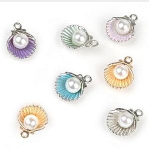 Wholesale 100pcs Alloy Shell Pearl Charms Pendants for Jewelry Making DIY Handmade Craft x11mm