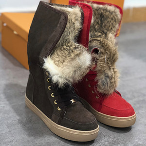 Wholesale NEW Winter suede designer boots fashion luxury designer women boots knee thigh high boots women Genuine leather casual Flat Furry Snow shoes
