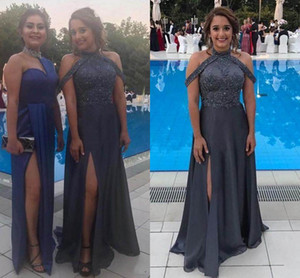 2018 Latest Chiffon Evening Dresses Sequins Beaded Sleeveless Side Split Sexy A-Line Floor Length Evening Gowns Prom Dresses on Sale