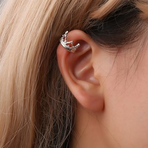 Korean crown women alloy earring stud best price lady loved fashion jewelry wholesale Clip-on Screw Back earrings free shipping on Sale