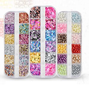 Wholesale 12 Grids Sets Mixed Color Nail Glitter Round Star Irregular Shape DIY Flake Nail Art Decorations Sparkly Art Decorate
