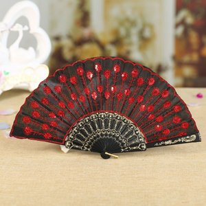 Wholesale Chinese Folding Peacock Hand Fan Bead Fabric Decor Colored Embroidered Flower Pattern Black Cloth Folding Hand Fan