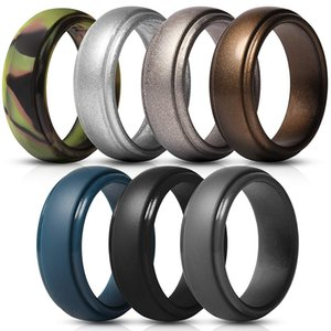 Men's Silicone Rings Rubber Wedding Bands Flexible Silicon Comfortable Fit Lightweigh Ring Multi Colors and Size Men Jewelry