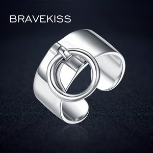 Wholesale BRAVEKISS Pure Sterling Silver Adjustable Rings For Women Round Circle Charm Dangle Ring Pendant Wide Ring Band BLR0323