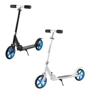 Wholesale 205mm PU Wheel Forerake Head Double Brake Scooter For Adult Child Adjustable Height Foldable Big Wheel Scooter