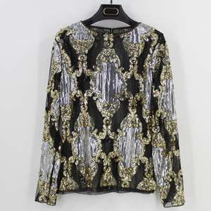 2018 Summer Runway Luxury Women Sexy Sheer Mesh Shirt Top Long Sleeve Sequin Bead Diamond Embellished Embroidery Blouse Mujer