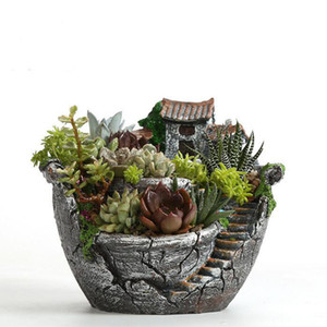 Wholesale Resin Garden Cactus Succulent Plant Pot Herb Flower Planter Box Nursery Pots Home Room Decor Ornament Garden Tools Supplies
