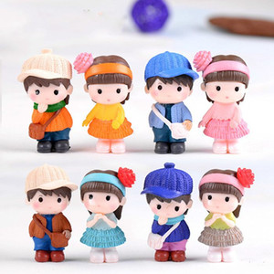Wholesale 1Pair Miniature Doll Lovers Figurines Toys Dollhouse Decoration Fairy Garden Gnome Accessory Moss Terrarium Wedding Ornaments DIY Craft