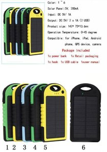Wholesale solar power Charger mAh Battery solar panel waterproof shockproof Dustproof portable power bank for Mobile Cellphone Laptop Camera USB