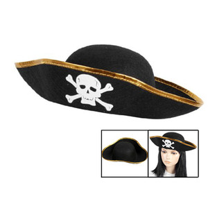Wholesale promotion Unisex Dressing Up White Skull Pattern Pirate Bucket Hat Cap Party Hats
