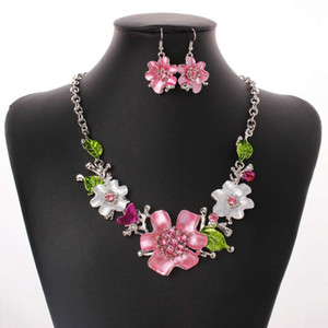 Wholesale flowers jewelry sets pink white earrings necklaces women cute wedding dress bride banquet jewelry