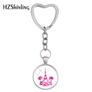 Wholesale 2018 New Eiffel Tower Keyring Art Handmade Heart Keychain Silver Photo Jewelry Glass Cabochon Key Rings Accessory