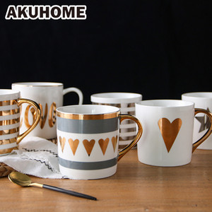 золотое молоко оптовых-Golden Ceramic Mug Porcelain Coffee Mug China Bone Milk Cup Love Heart Stripe