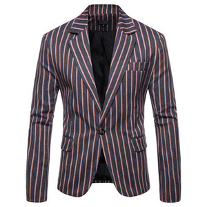 Pop 2019 Spring Autumn Amazing Casual Decent Men's Striped Suits British's Style Slim Fit Jacket Male Blazers Decent Men Coat Clothing on Sale