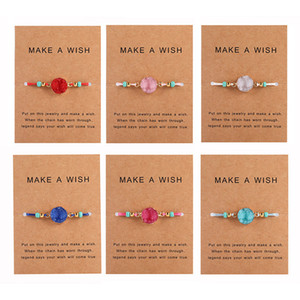Wholesale Handmade Druzy Resin Stone Bracelet Make a Wish Card Wax Rope Braided Bracelets Bangles With Rice Bead for Women Girls Summer Beach Jewelry