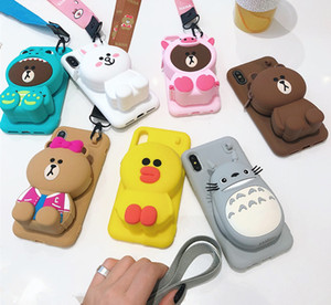 Wholesale 3D Cartoon Totoro Cony Sally Zipper Wallet Cute Cartoon Soft Silicone Phone Case for iPhone s Plus Plus X XR XS Max