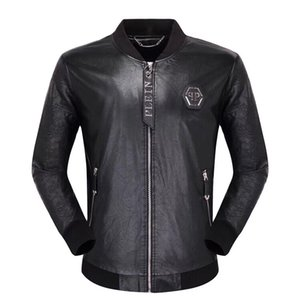 Wholesale New brand metal plane decoration men leather jacket top quality male autumn winter leather jacket male fashion leather coat men
