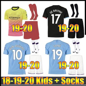 FC Manchester MAHREZ AWAY DE BRUYNE AGUERO CITY soccer jersey kids kit 2019 SANE boys THIRD 19 20 CHILD JERSEY football shirt uniforms on Sale