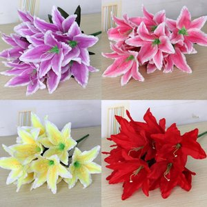 Wholesale flower arrangement centerpieces for weddings resale online - Artificial Lily Bunch Flower Silk Lily Flowers heads quot six colors for Wedding Centerpieces Part Floral Arrangement