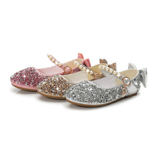 Wholesale Girls Summer Shoes Toddler Girl Baby Sandals Glitter Pearl Strap Princess Ballerinas Flat Shoes for Wedding Party Dress UP Costumes Shoes