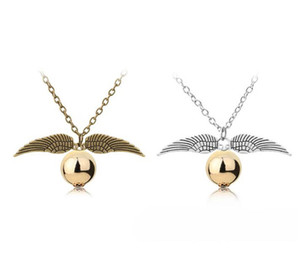 Wholesale Fashion Jewelry Harry P Necklace Men Women Vintage Style Angel Wing Charm Golden Snitch Pendant Necklace for Potter Movie Fans Necklaces