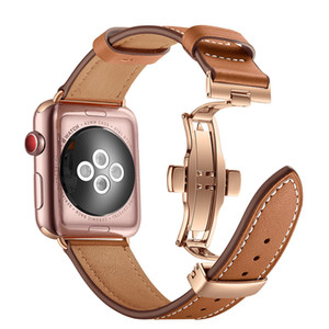 Wholesale For Apple Watch Band Rose Gold Metal Butterfly Clasp Leather Belt Wrist Watch Straps For iWatch Series Watchband mm mm
