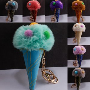 18 Styles Colorful Double Color Ice Cream Keyfob Fur Pompom Ball Keychain Fur Car Keychains Key Holder Ladies Bag Pendant M209A