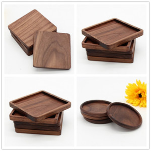 Wholesale Wooden Coasters Black Walnut Cup Mat Bowl Pad Coffee Tea Cup Mats Dinner Plates Kitchen Home Bar Tools