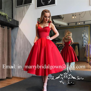 Wholesale Vintage 1950s Retro Red Black Prom Dress Satin A Line Sexy Spaghetti Strap Tea Length Cheap Short Evening Dress Formal Party Gowns Pockets
